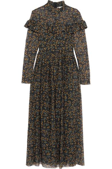 9c106c39f8f GANNI. Tilden ruffled floral-print mesh maxi dress