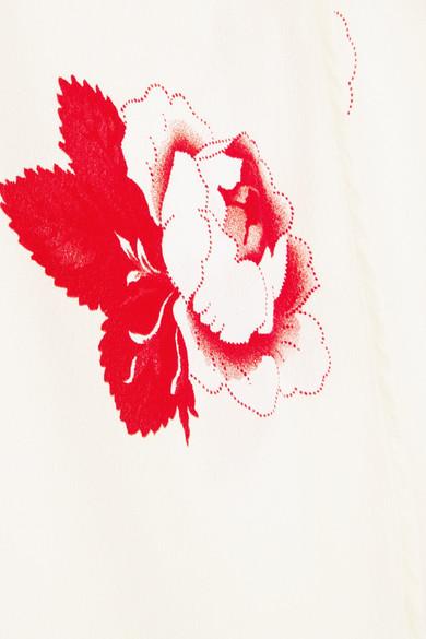 GANNI Floral bedrucktes Wickelkleid aus Crêpe