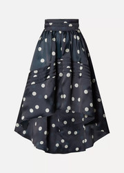 Asymmetric polka-dot silk-organza skirt