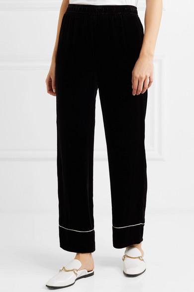 GANNI Hose aus Samt mit weitem Bein und Paspeln