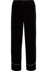 GANNI Piped velvet wide-leg pants