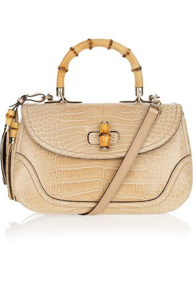 2cafed829ec2 Gucci | New Bamboo crocodile shoulder bag | NET-A-PORTER.COM