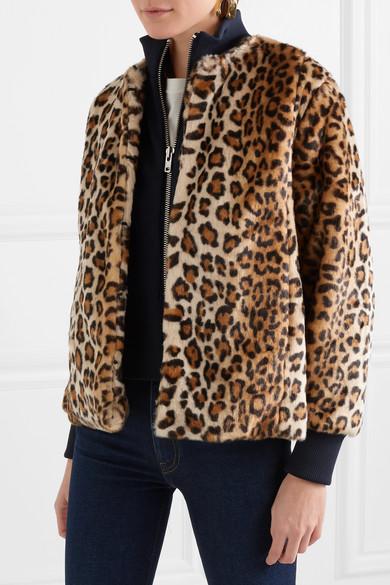 GANNI Ferris Jacke aus Faux Fur mit Leopardenprint und Jersey-Besatz