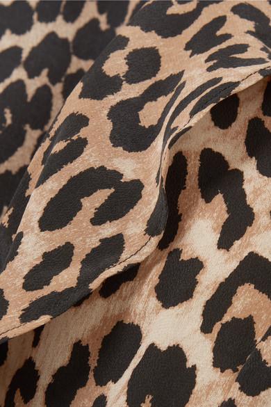 GANNI Wickeloberteil aus Seide mit Leopardenprint und Volants