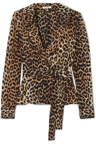 GANNI - Ruffled Leopard-print Silk Wrap Top - Leopard print