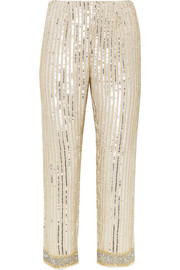 GANNI Temple cropped embellished chiffon straight-leg pants