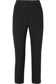 Cropped pinstriped crepe tapered pants