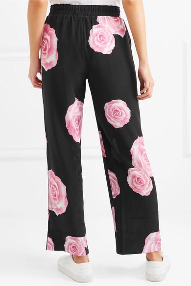 GANNI Hose mit geradem Bein aus Crêpe de Chine aus Seide mit Blumenprint