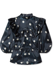 GANNI Ruffled polka-dot silk-organza top