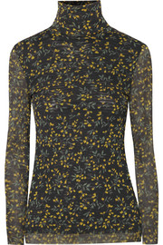 GANNI Tilden floral-print mesh turtleneck top