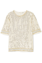 GANNI Temple embellished chiffon top