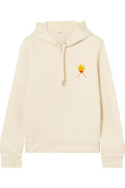 GANNI Lott Isoli embroidered cotton-jersey hooded top