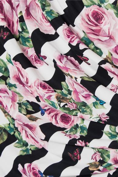 Dolce & Gabbana Bedruckter Neckholder-Badeanzug mit Raffung Billige Bilder Y1FpjhfHk