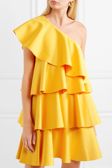 One-shoulder Ruffled Crepe Mini Dress - Saffron Solace London MIAqUfdnm