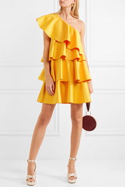 One-shoulder ruffled crepe mini dress