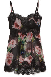 Dolce & Gabbana Lace-trimmed floral-print silk-blend chiffon camisole