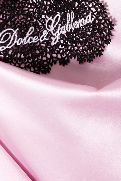 Dolce & Gabbana Top aus Satin aus einer Stretch-Seidenmischung mit besticktem Spitzenbesatz