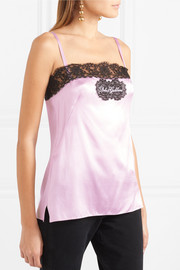 Dolce & Gabbana Embroidered lace-trimmed stretch silk-blend satin camisole