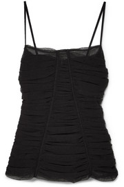 Ruched stretch-tulle bustier top