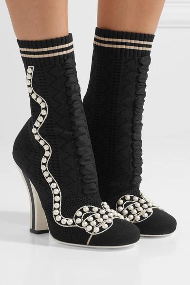 Fendi Sock Boots aus Stretch-Strick mit Kunstperlen