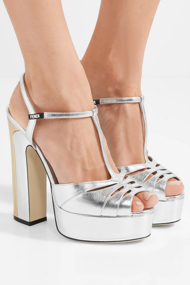 adc25ff99550 Two-tone metallic leather platform sandals