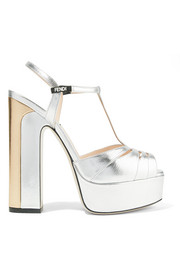 Fendi Two-tone metallic leather platform sandals