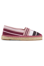 Fendi Logo-woven striped metallic stretch-knit espadrilles
