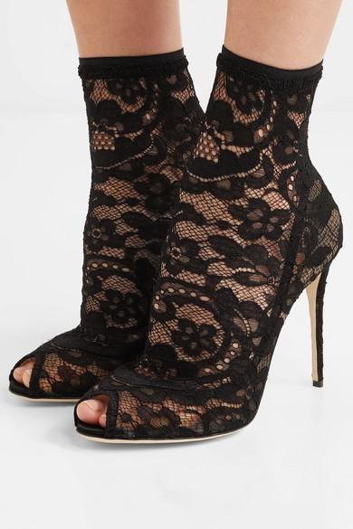 Dolce & Gabbana | und Sock Boots aus Stretch-Spitze und | Tüll f6f479