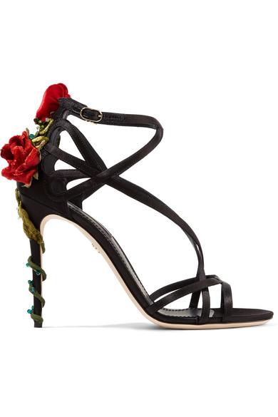 Dolce & Gabbana - Velvet And Crystal-embellished Satin Sandals - Black at NET-A-PORTER