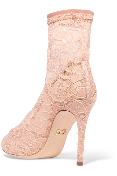 Dolce & Gabbana Sock Boots Made Of Stretch Lace And Tulle