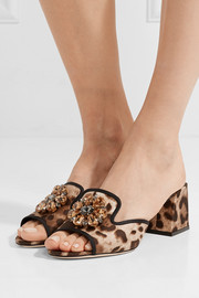 Crystal-embellished leopard-print twill mules