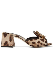 Dolce & Gabbana Crystal-embellished leopard-print twill mules