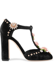 Embellished velvet pumps