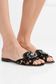 Embellished corded lace and lizard-effect leather slides