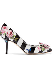 Dolce & Gabbana Crystal-embellished printed glossed-leather pumps