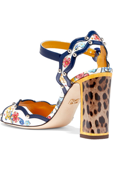 Rivets Dolce & Gabbana Printed Sandals Made Of Patent Leather With