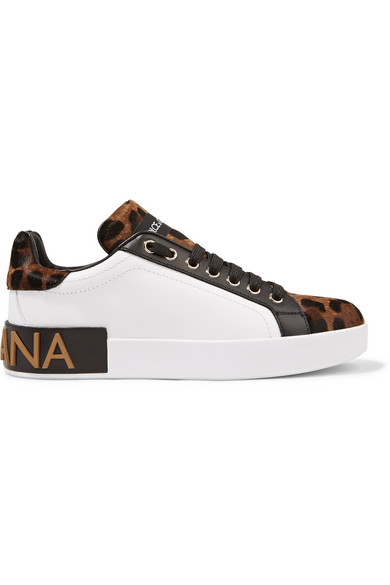 Logo-embellished Leather And Leopard-print Calf Hair Sneakers - Leopard print Dolce & Gabbana ItaEdJubS
