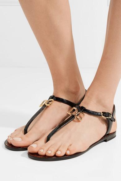 Logo-embellished Patent-leather Sandals - Black Dolce & Gabbana kFJXKag2
