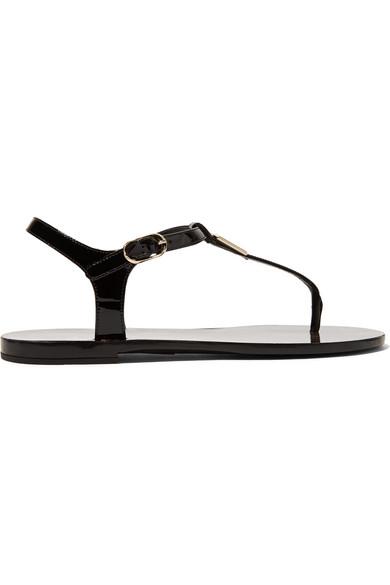 Dolce & Gabbana Logo-embellished Patent-leather Sandals Outlet For Sale fLAJdhlIwT