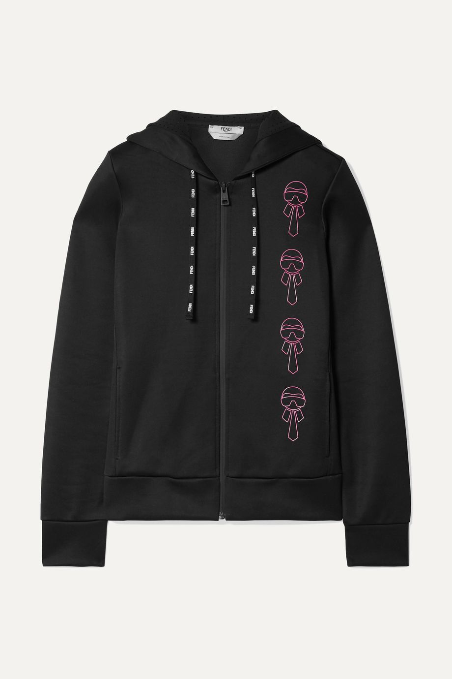 Fendi Karlito embellished scuba hooded top