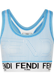 Fendi Striped stretch sports bra