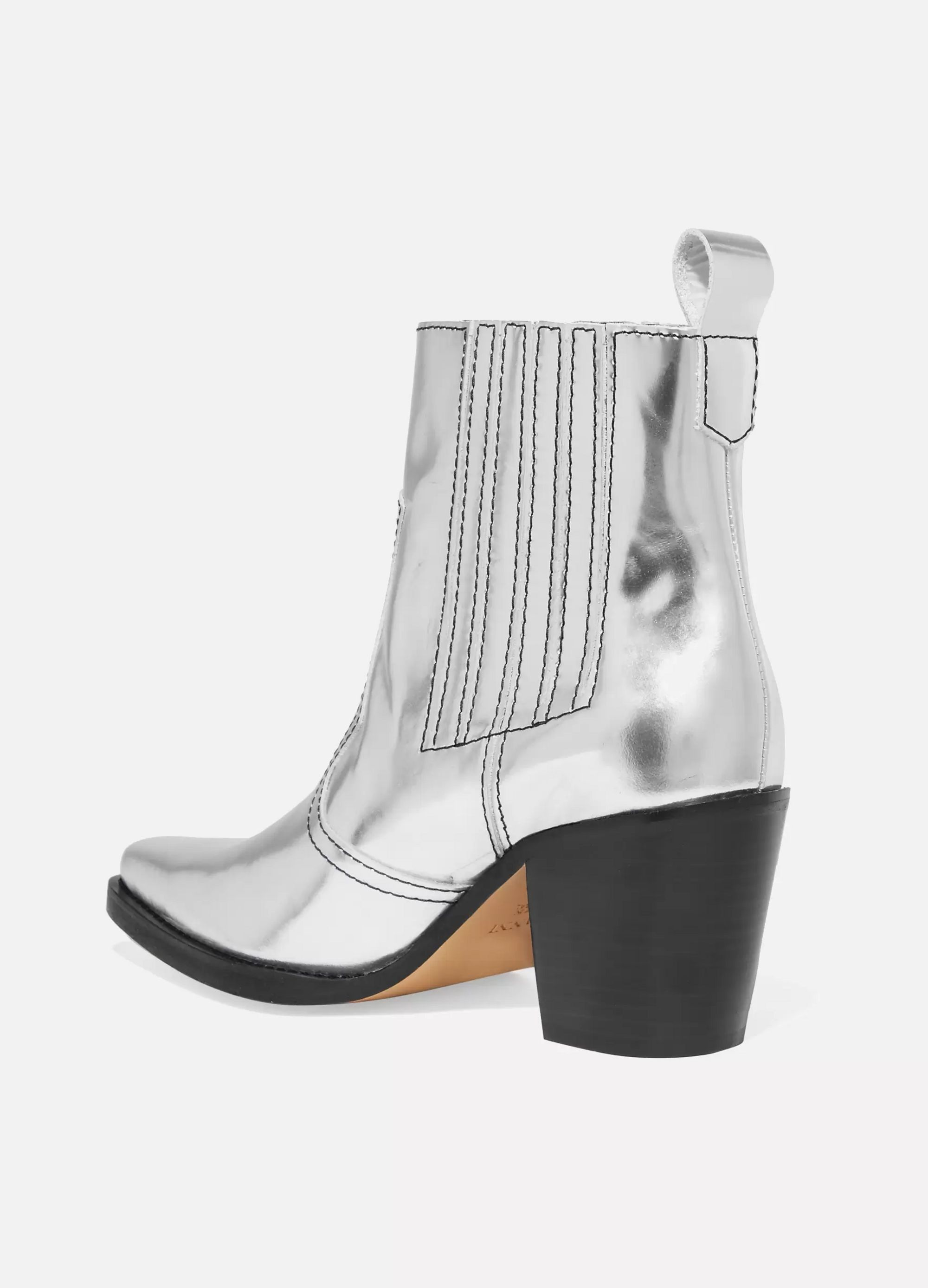 GANNI Callie metallic leather ankle boots