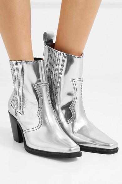 GANNI Callie Ankle Boots aus Metallic-Leder