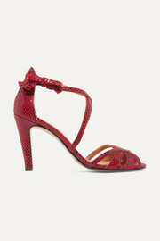 GANNI Tamika snake-effect leather sandals