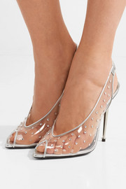 Embellished metallic leather and PVC slingback pumps