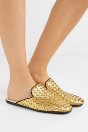 Metallic intrecciato leather slippers