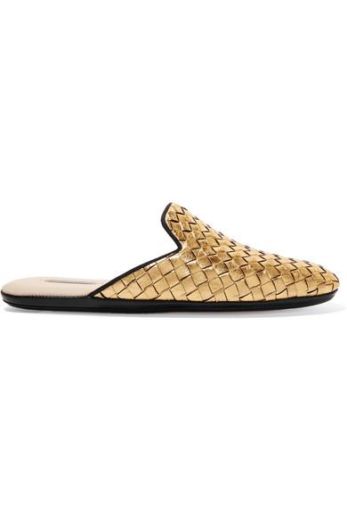 Bottega Veneta - Metallic Intrecciato Leather Slippers - Gold
