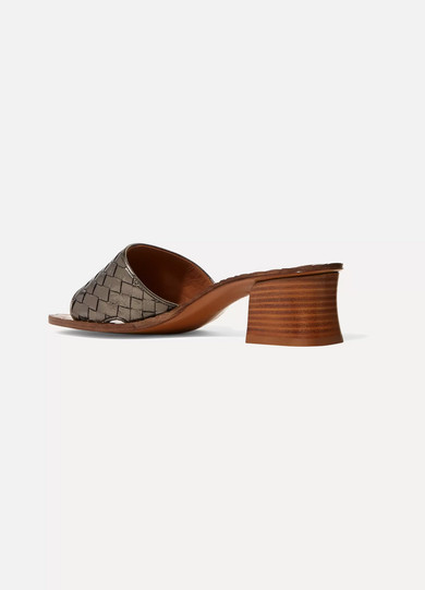 Bottega Veneta Mules aus Intrecciato-Leder in Metallic-Optik