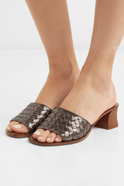 Bottega Veneta Metallic intrecciato leather mules