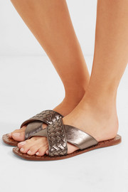 Bottega Veneta Metallic intrecciato textured-leather slides